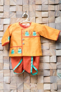 Orange frog kurta & red dhoti pants