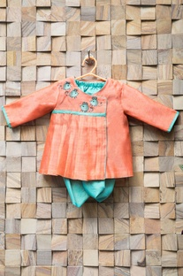 Peach kurta with turquoise blue dhoti