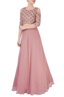 Dusky pink embroidered lehenga set teamed with a matching blouse