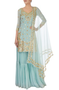 Ice blue embellishment sharara set