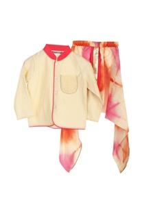 Cream bandhgala with dyed dhoti pants