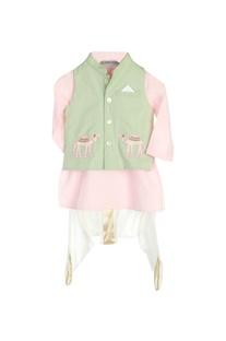 Pastel pink kurta with jacket & dhoti