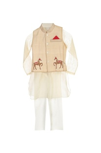 White kurta & pyjama with beige jacket