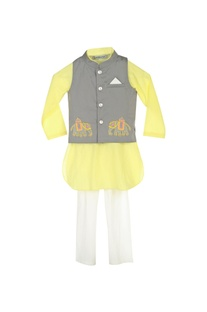 Pastel yellow kurta with churidar & grey jacket