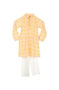 Peach lemon print kurta & pyjamas
