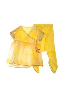 Yellow kurta with dhoti pants