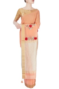 Peach & ivory sari with embroidery