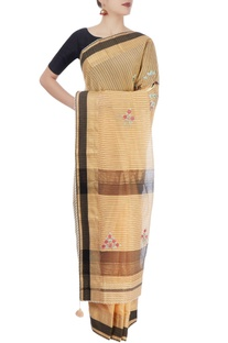Beige & black sari with embroidery