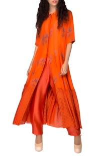 Orange printed kurta
