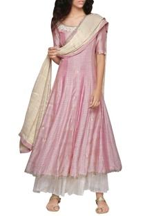 Rose pink godet kurta and golden dupatta set