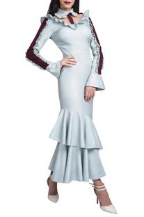 Powder blue ruffled dress