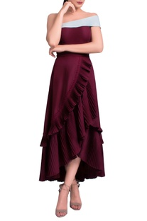Wine ruffled off-shoulder midi dress