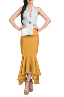 Powder blue & mustard jacket with skirt