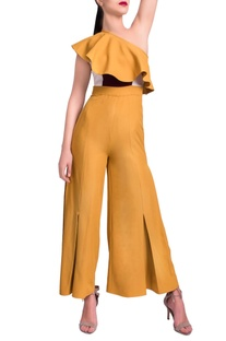 Mustard yellow one shoulder jumpsuit