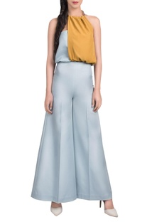 Powder blue and mustard yellow jumpsuit