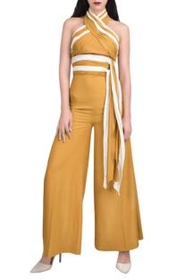 Mustard yellow & white halter jumpsuit