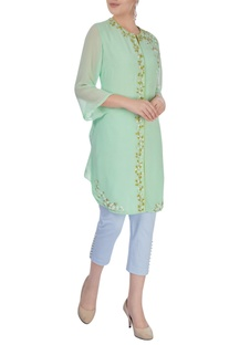 Sea green embroidered kurta