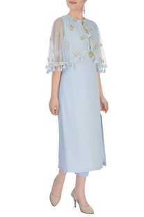 Pastel blue embroidered poncho