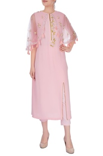 Pastel pink embroidered poncho
