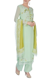 Pista green embroidered kurta set