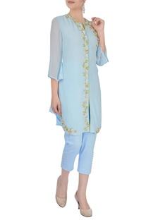 Pastel blue embroidered kurta