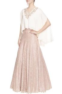 White draped blouse & maxi skirt
