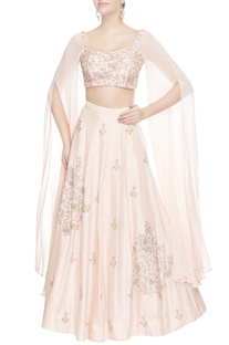 Pink floral embroidered lehenga