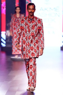 Red printed trench coat