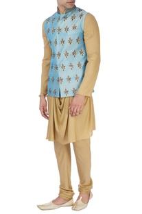 Sky blue machine embroidered nehru jacket set