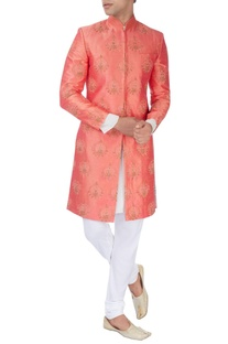 Rust orange machine embroidered sherwani