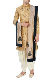 Gold floral sherwani set