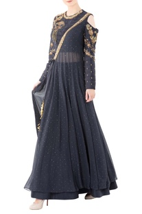 Charcoal grey ankgrakha gown with zari work