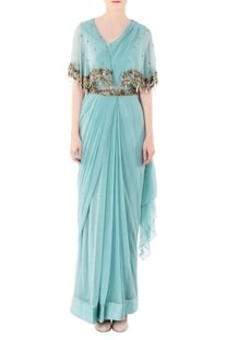 Pastel green cape gown with Zari work
