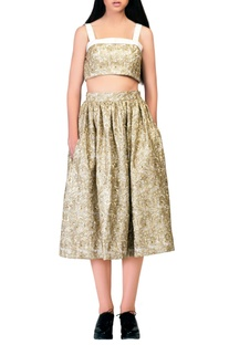 Gold embroidered crop top