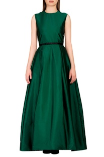 Emerald green gown with slim waist belt