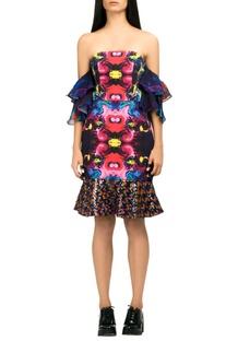 Multicolored digital print tube dress