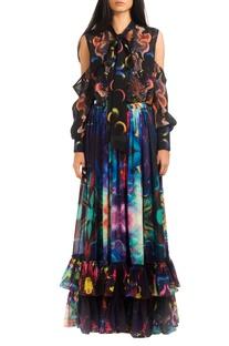Multicolored digital print skirt