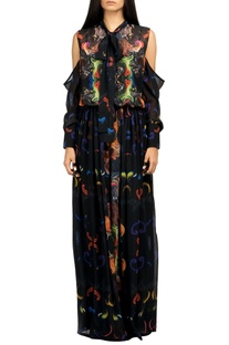 Multicolored digital print gown