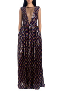 Multicolored sequin sheer gown