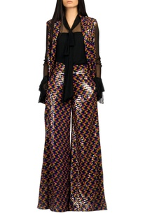 Multicolored sequin flared pants