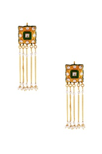Green meenakari fringe earrings