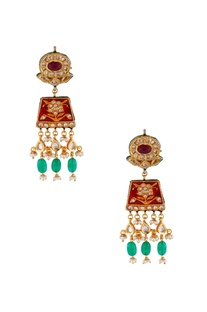 Red & green gold plated earrings