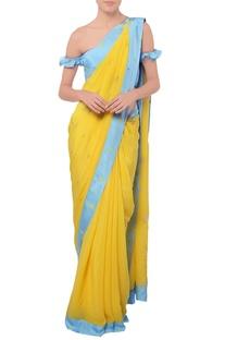 Blue yellow sari with print