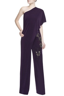 Dark purple one shoulder jumpsuit