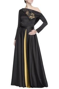 Black one-shoulder top & skirt
