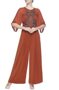 Orange jumpsuit with applique work