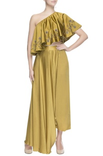 Golden yellow slit drape skirt
