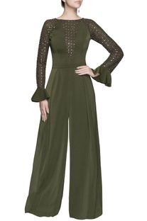 Green silver sequin jumpsuit
