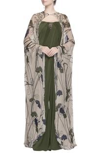 Beige floral printed cape