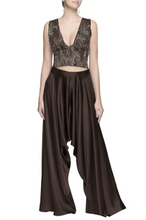 Dark brown embroidered crop top